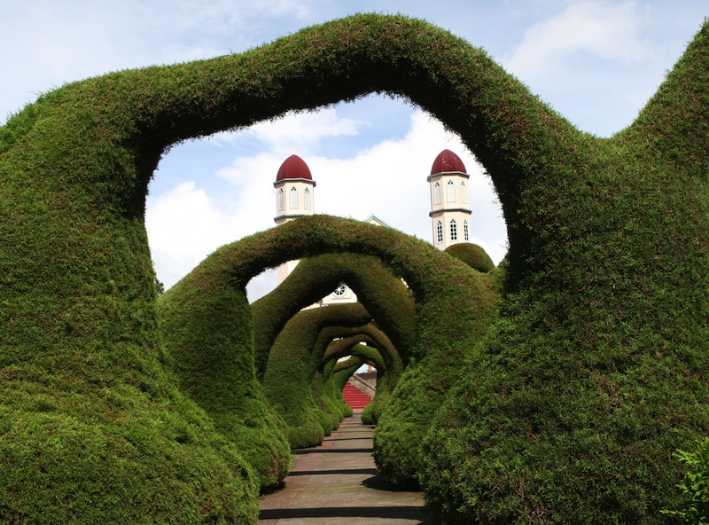 Sculpted bushes in front of a church in Costa Rica