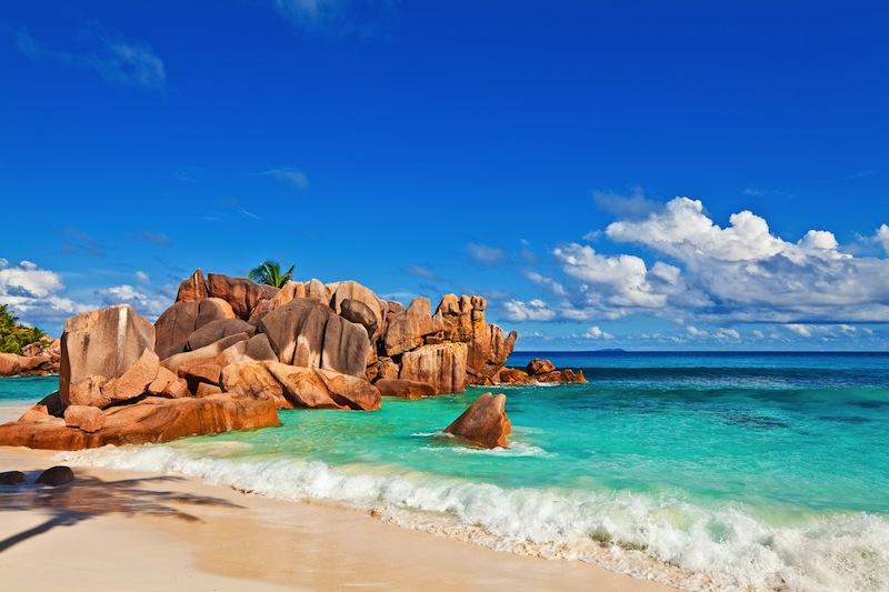 Seascape view with a huge stones Seychelles La Digue island