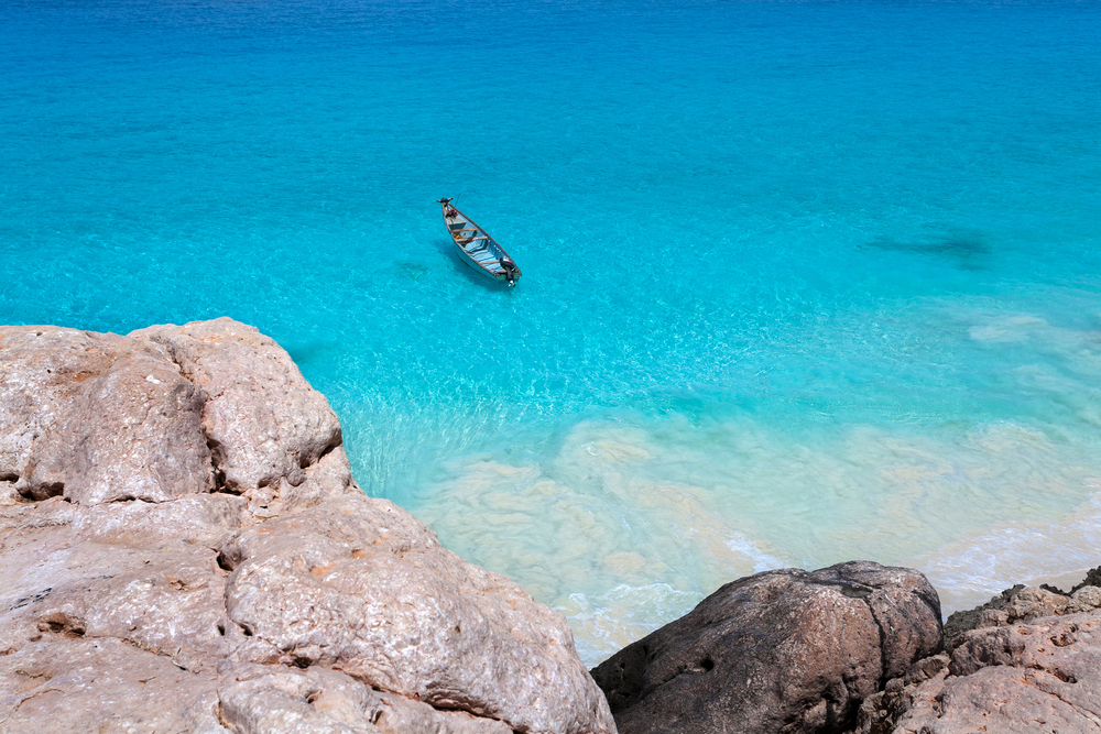 Seascape with a boat 0Arabian Sea Indian Ocean island Socotra Yemen