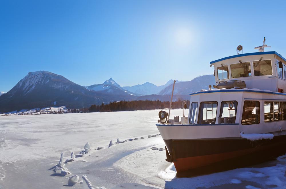 Ship in ice village St Wolfgang on the lake Wolfgangsee Salzburg Austria