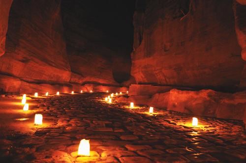 Siq during Petra night walk Jordan