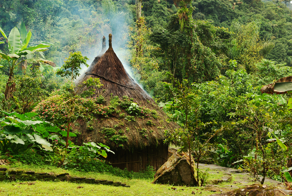 Small kogi hut built in the traditional way of the Tayrona in Northern Colombia