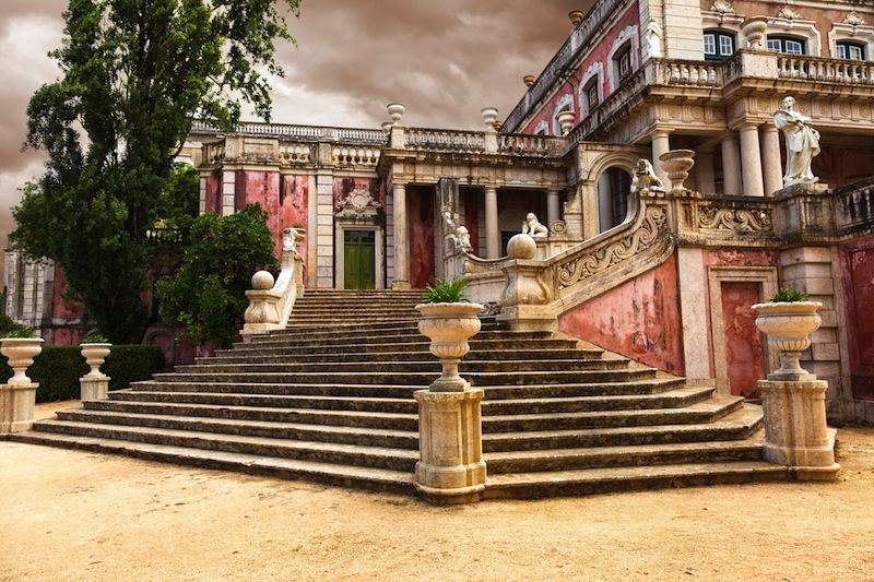Staircase of the Robillon wing in Queluz National Palace municipality of Sintra Lisbon district Portugal