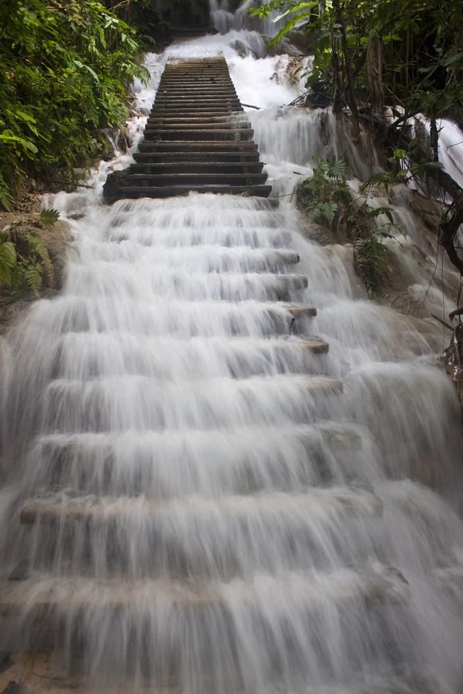 Stairs at Tat Kuang Si waterfall in Laos