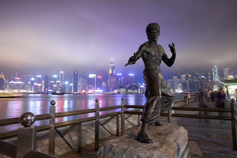 Statue of Bruce Lee at Avenue of Stars n Hong Kong