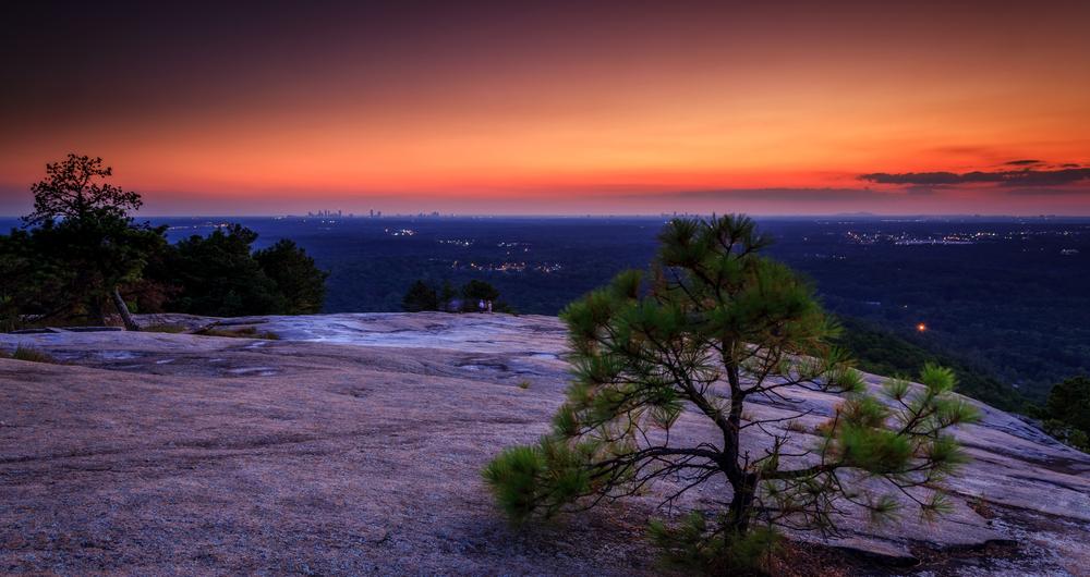 Stone mountains state park sunset over atlanta Georgia