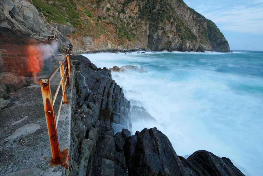 Stormy Ligurian Sea in Riomaggiore Village Cinque Terre Italy