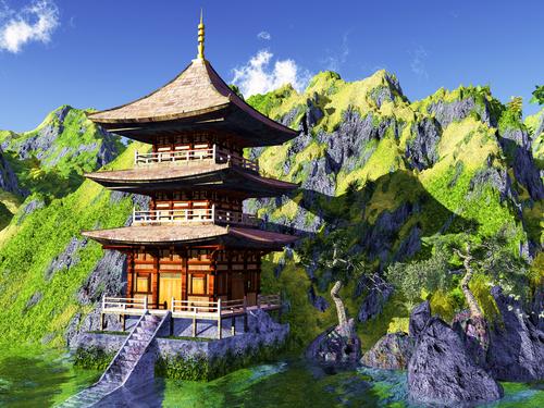 Sun temple Buddhist shrine in the Himalayas