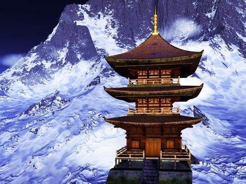 Sun temple Buddhist shrine in the Himalayas 31