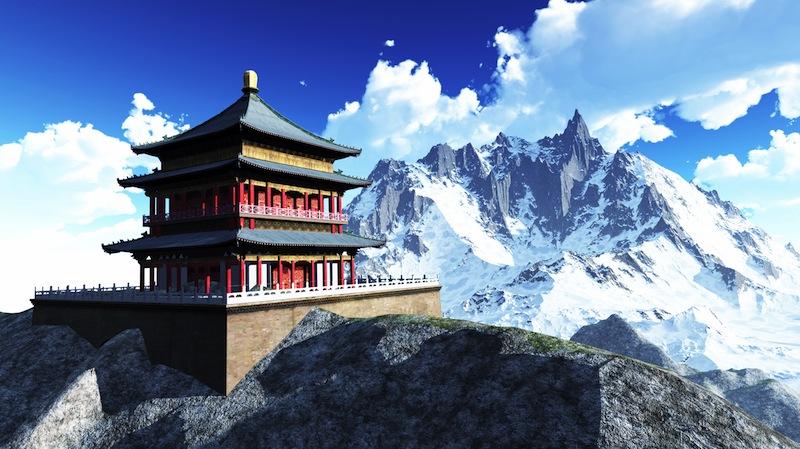 Sun temple Buddhist shrine in the Himalayas 4