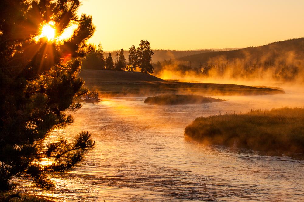 Sunrise above Yellowstone river
