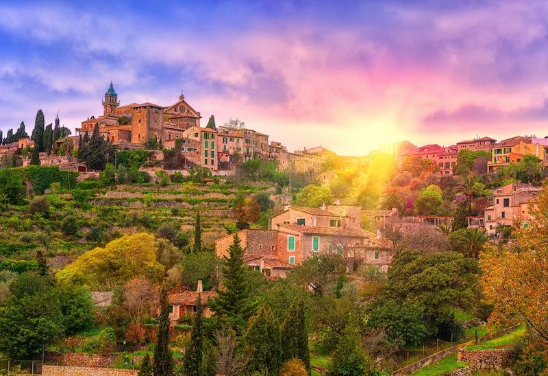 Sunrise in Valdemossa valley Mallorca Spain