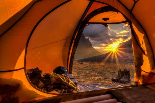 Sunrise inside a Tent lapponia