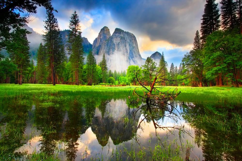 Sunset at Yosemites Cathedral Rocks