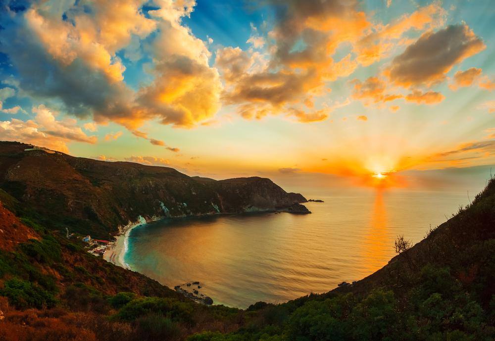 Sunset in Cephalonia  Beautiful panorama of Petani Beach in Cephalonia Greece3