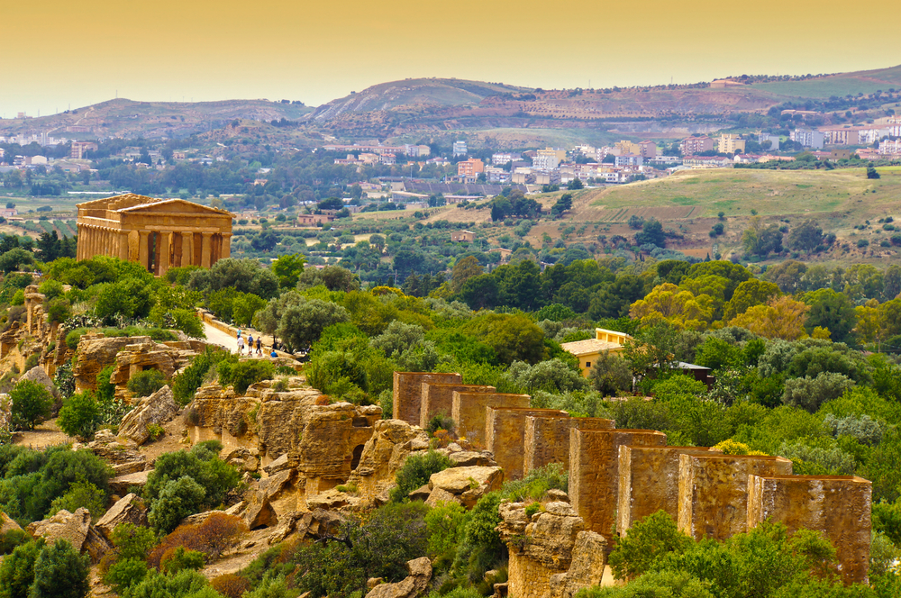 Sunset in Temple of Concordia Valley of the Temples Agrigento Sicily Italy