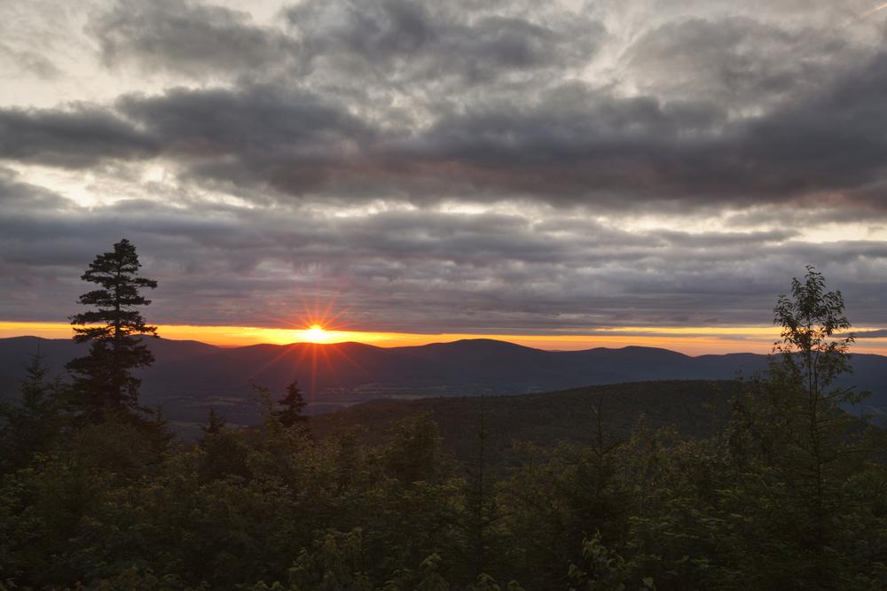 Sunset in the Berkshire Hills of Western Massachusetts from an overlook on Mount Greylock