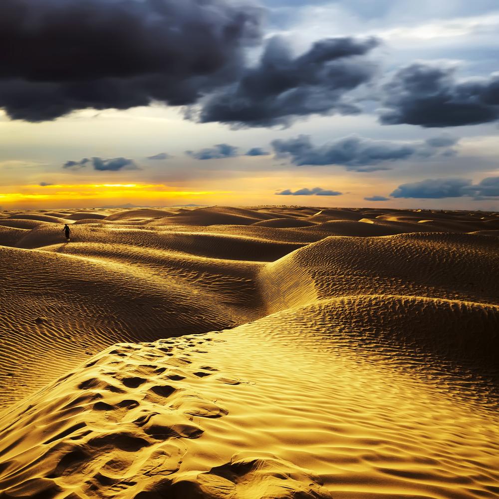 Sunset in the Sahara desert Douz Tunisia