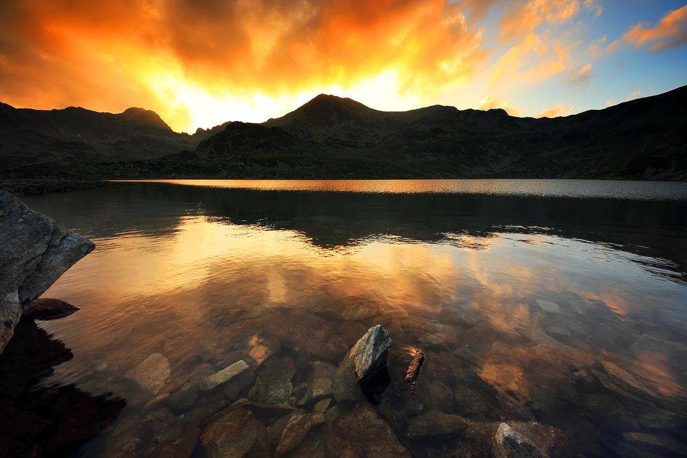 Sunset light ove0r Bucura Lake National Park Retezat Romania
