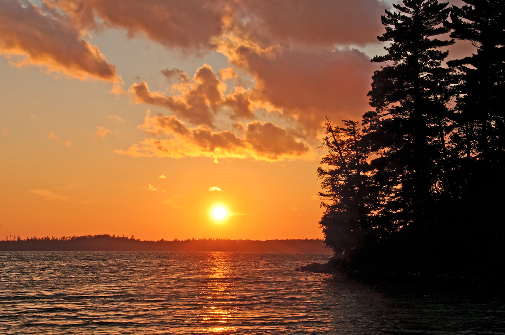 Sunset on Bayley Bay on Basswood Lake in Quetico Provincial Park minnesota