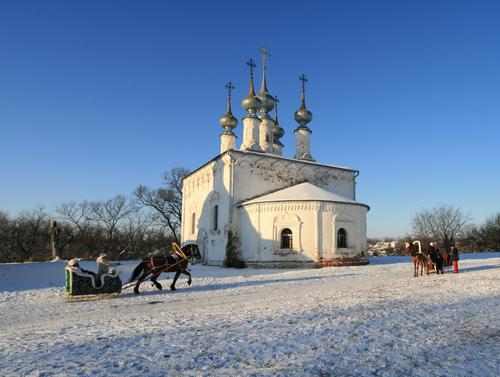 Suzdal churche and Russian sledge Russia