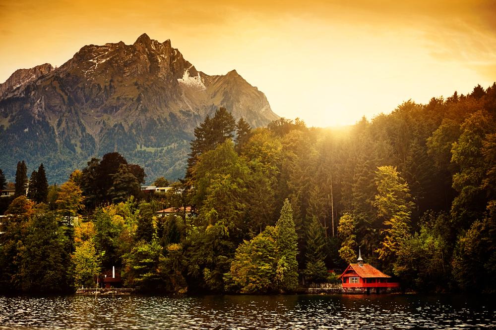 Switzerland Alps Sunrise on Lucerne Lake with Mount Pilatus in the background