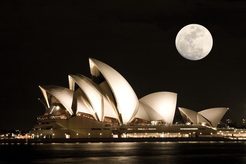 Sydney Opera House with moon