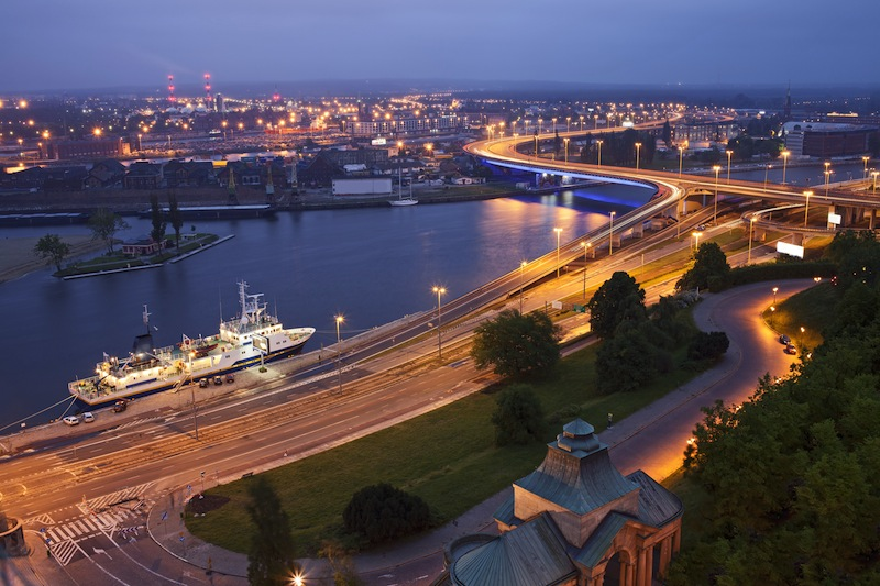 Szczecin Stettin City at night river view from National Museum Poland