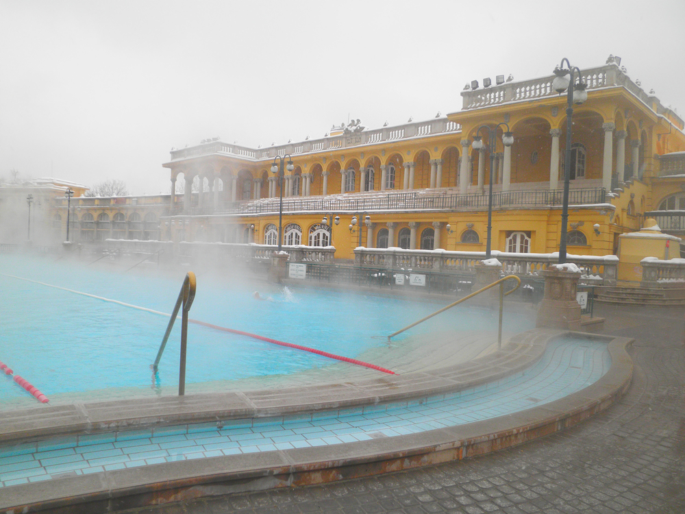Szechenyi thermal spa bath in Budapest at winter day Hungary