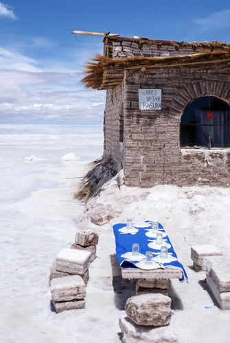 Table and Chairs made by salt in Salar de Uyuni Bolivia