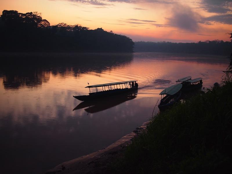 Tambopata river during sunrise in the Amazon rainforest in Peru