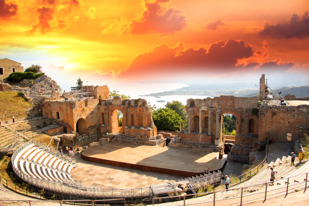 Taormina theater in Sicily Italy