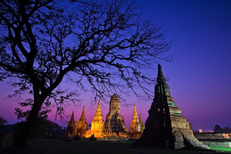 Temple wat Chaiwatthanaram of Ayuthaya Province Thai