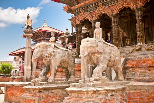 Temples at Durbar Sqaure in Patan Lalitpur city Nepal