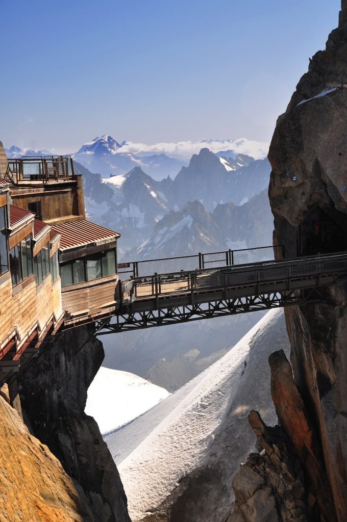 The Aiguille du Midi 3842 m is a mountain in the Mont Blanc massif in the French Alps