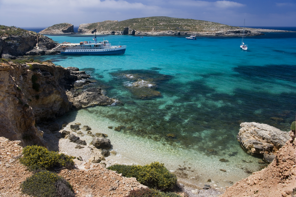 The Blue Lagoon on the tiny island of Comino Malta