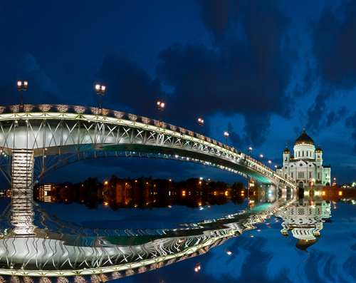 The Cathedral of Christ the Savior at night Moscow Russia