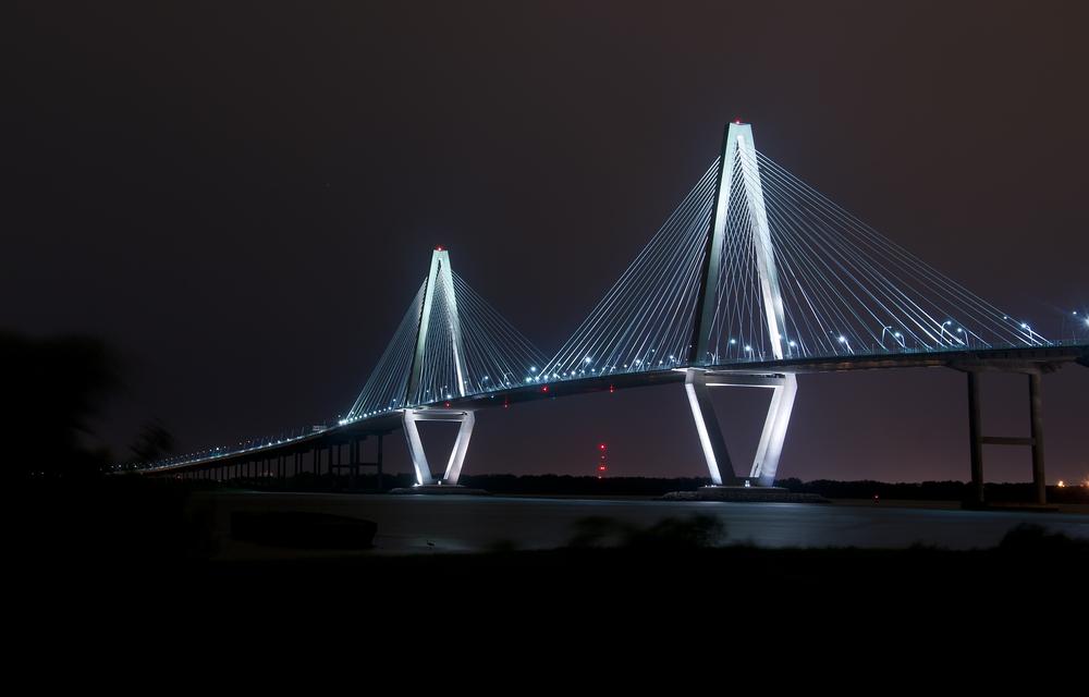 The Cooper River Bridge at Night in Charleston SC