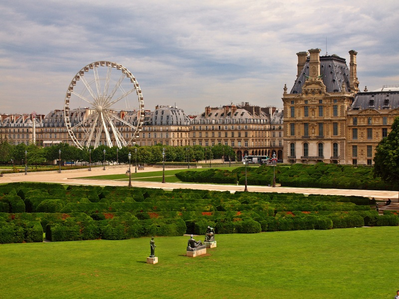 The Louvre Museum and the labyrinth in Paris city