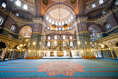 The New Mosque Yeni Valide Camii an Ottoman Imperial Mosque interior architecture in Istanbul Turkey Eminonu district