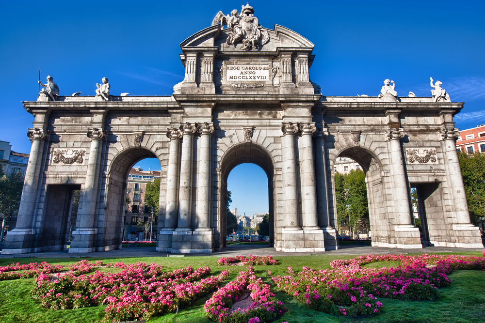 The Puerta de Alcala is a monument in the Plaza de la Independencia Independence Square in Madrid Spain