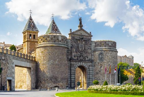 The Puerta de Bisagra the main entrance onto the territory of Toledo city Spain