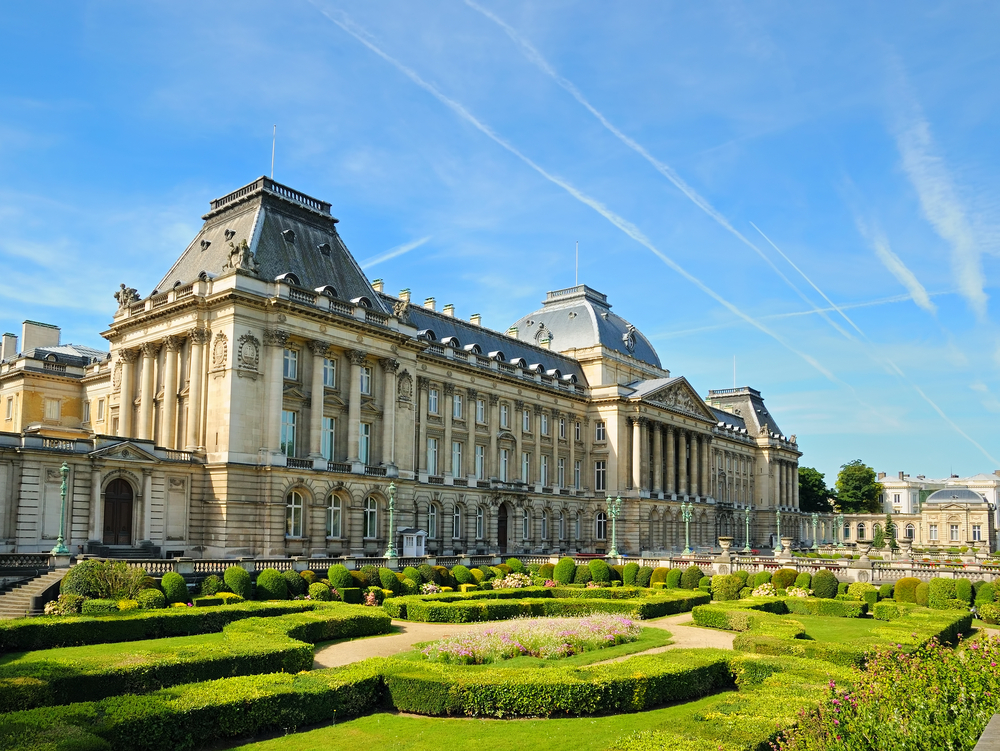 The Royal Palace in center of Brussels view from Place des Palais Belgium