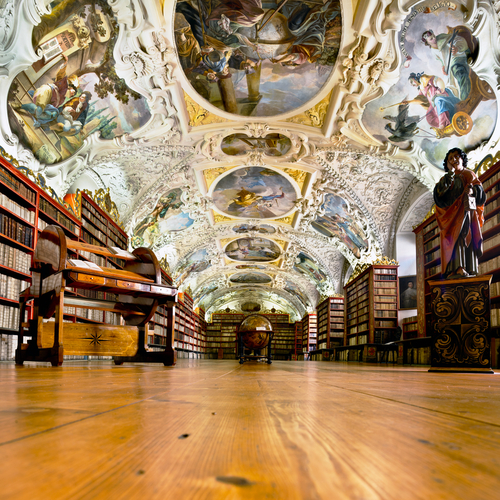 The Theological Hall in Strahov monastery in Prague constructed in 1720s