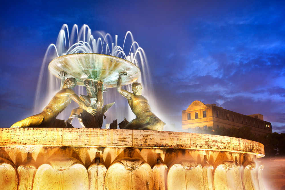 The Triton Fountain at the entrance of Valletta Malta