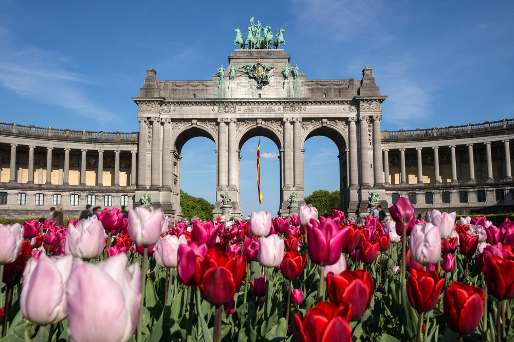 The Triumphal Arch Arc de Triomphe in the Cinquantenaire park in Brussels