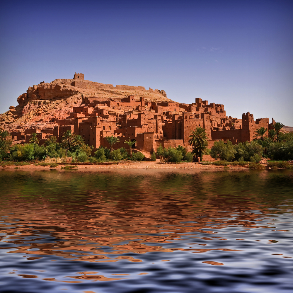 The beautiful Kasbah of Ait Benhaddou with the river full of water