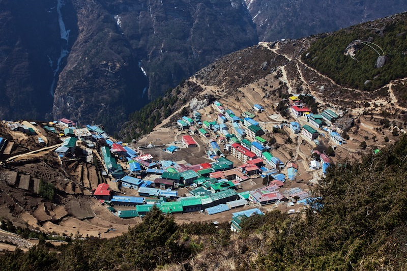 The capital of the sherpas Namche Bazar Nepal
