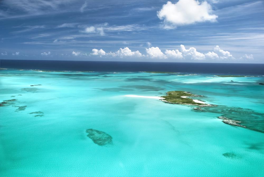 The caribbean ocean sandbars and islands
