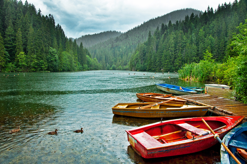The famous Red Lake in Transylvania Romania in summer